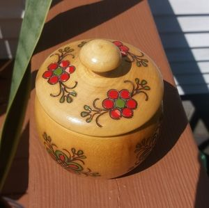 Other - Wood floral painted container with lid